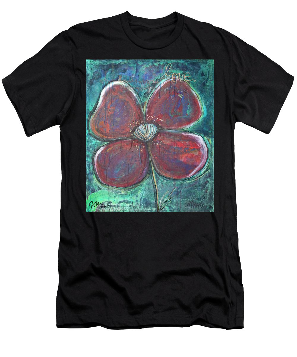 Poppy Men's T-Shirt (Athletic Fit) featuring the painting When I Finally Grow Up by Laurie Maves ART