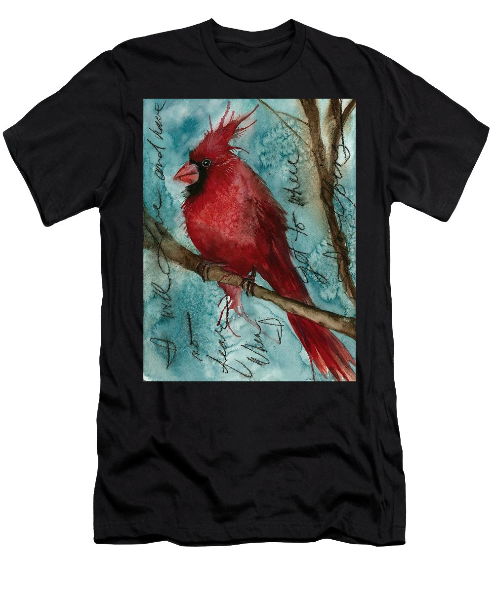 Cardinal Men's T-Shirt (Athletic Fit) featuring the painting When I Get To Where I'm Going ... by Gina Rossi armfield