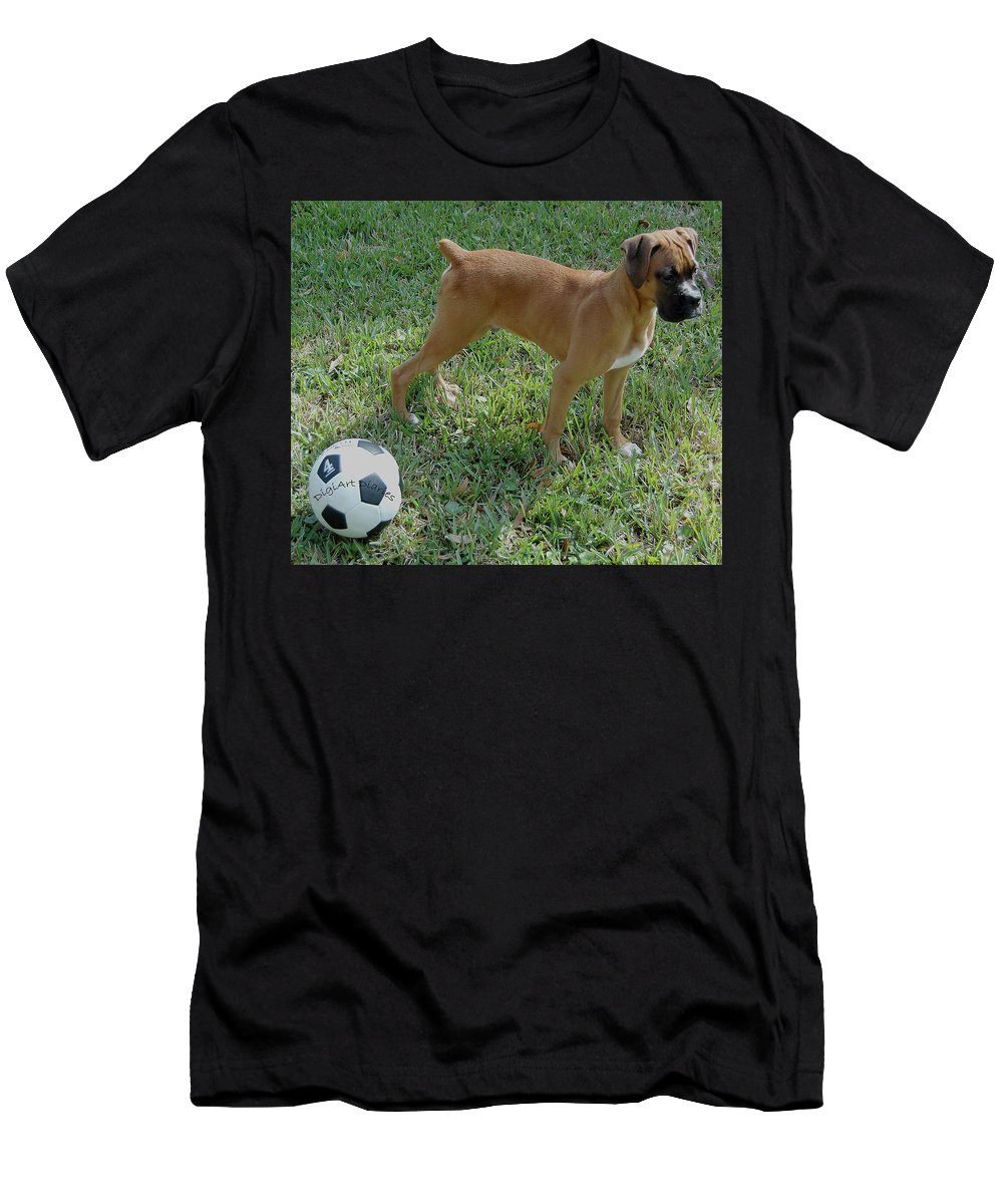 Dog Men's T-Shirt (Athletic Fit) featuring the digital art When I Was Just A Pup by DigiArt Diaries by Vicky B Fuller