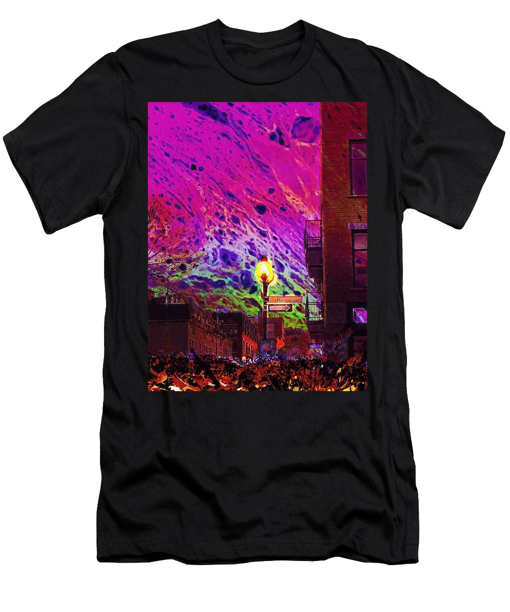 Montreal Men's T-Shirt (Athletic Fit) featuring the digital art When Sun Sets by Aiden Nettavong