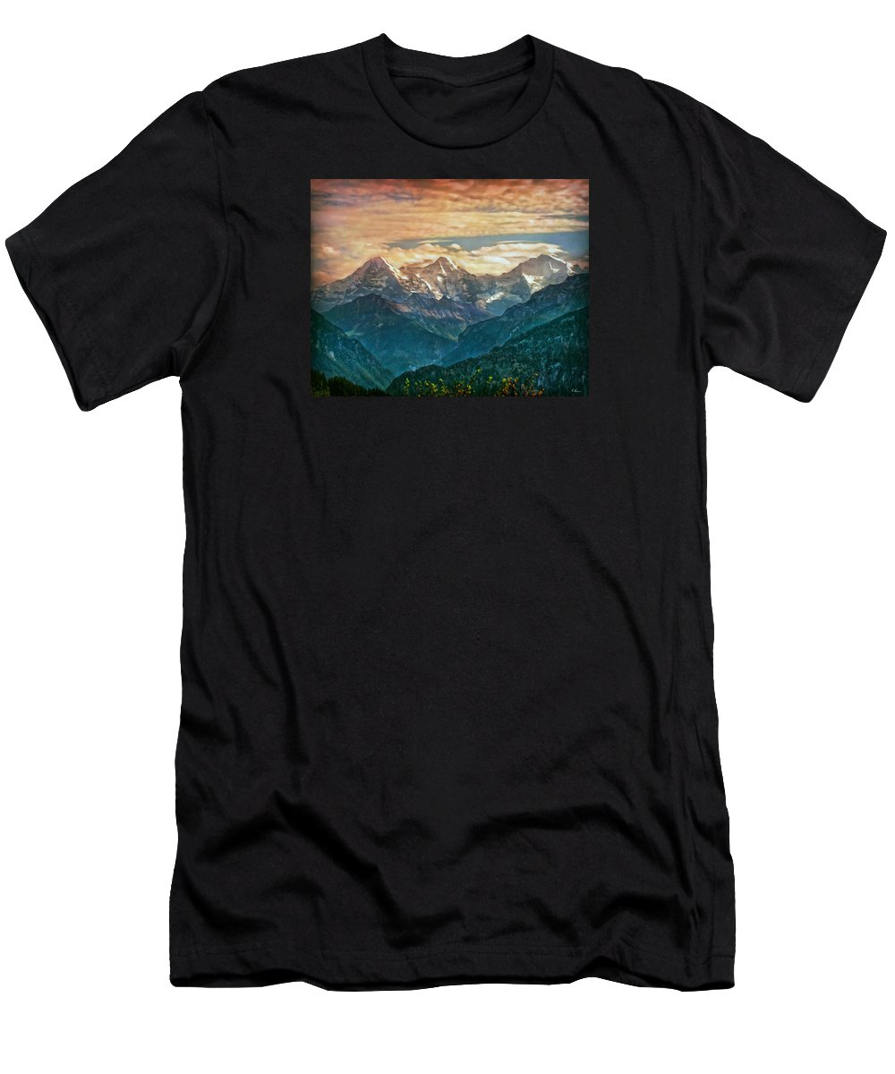 Switzerland Men's T-Shirt (Athletic Fit) featuring the photograph When The Sun Says Good Bye To The Mountains by Hanny Heim
