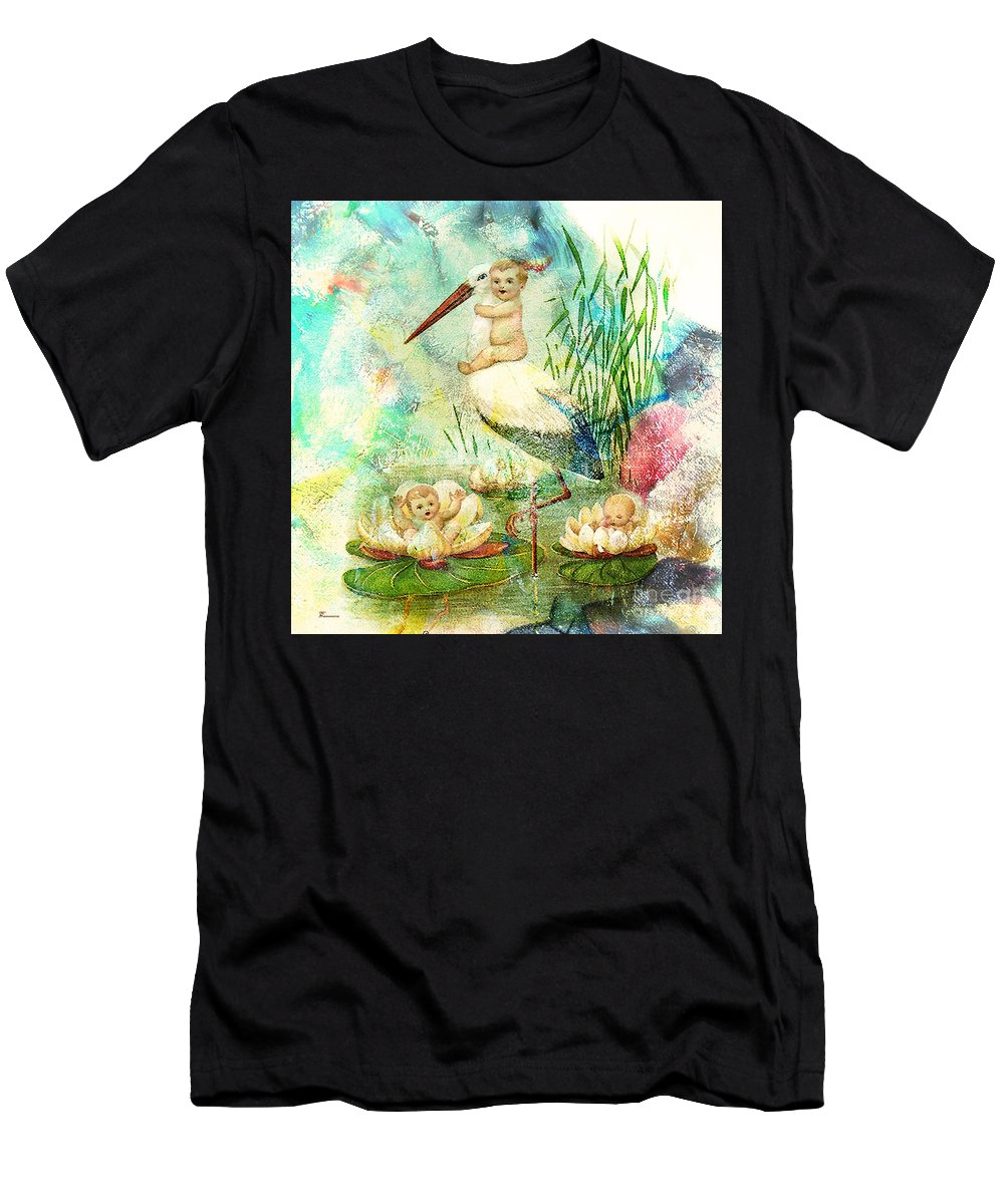 Baby Babies Birth Birthing Birthday Baby Shower Stork Bird Lilypads Lilies Moon Infant Infants Newborn Pink Blue Green Yellow Vintage Old Fashioned Old Fashion Fun Joy Happy Celebrate Men's T-Shirt (Athletic Fit) featuring the digital art Where Babies Come From by Tammera Malicki-Wong