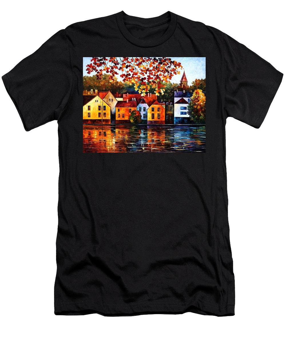 Afremov Men's T-Shirt (Athletic Fit) featuring the painting Where I Grew Up by Leonid Afremov