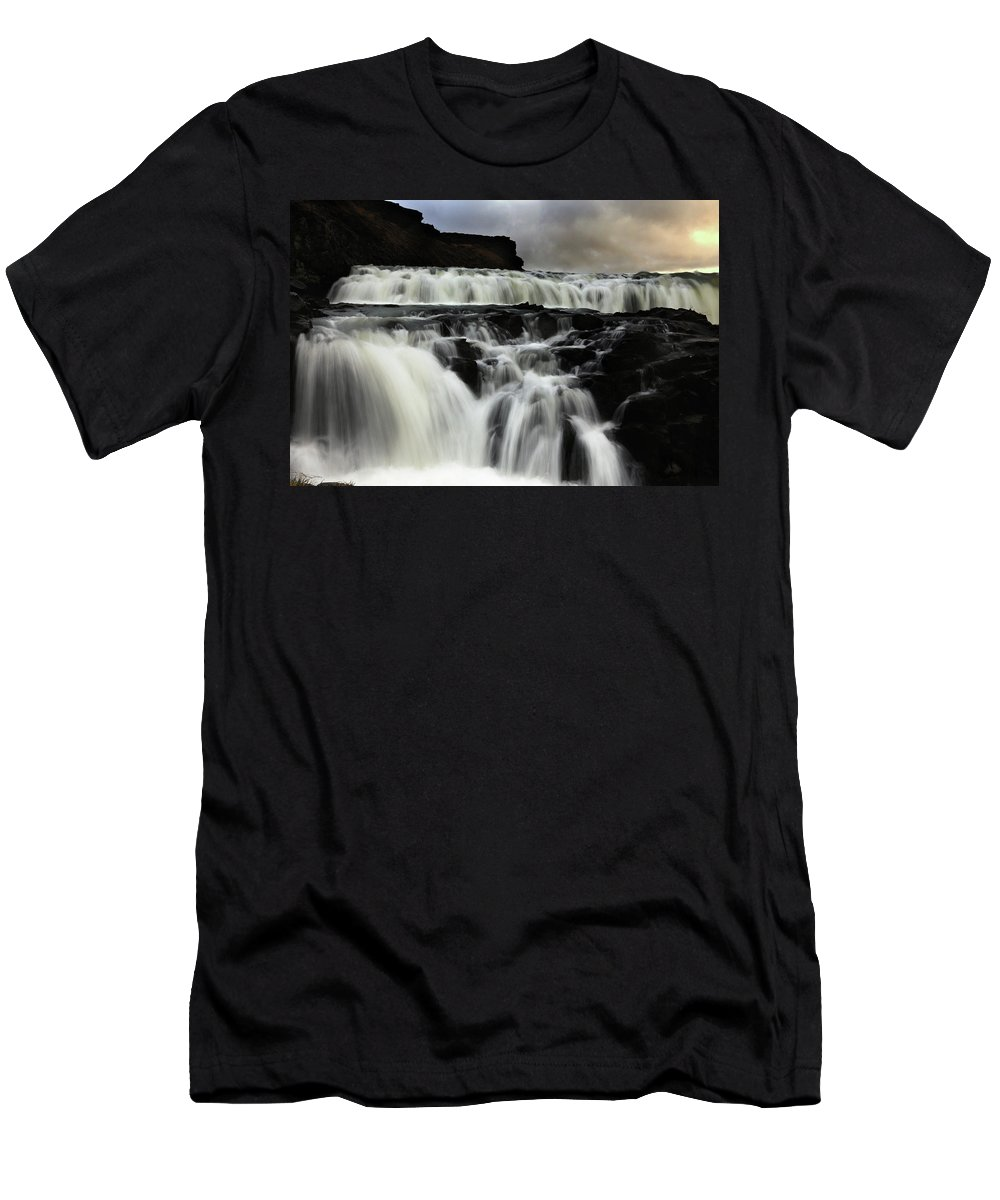 Waterfalls Men's T-Shirt (Athletic Fit) featuring the photograph Where The Water Falls by Angela King-Jones