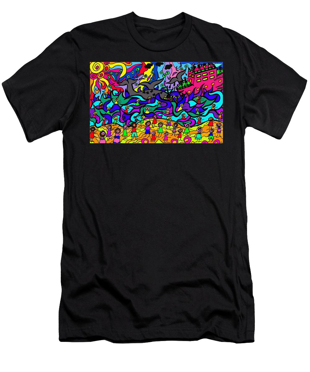 Whale Men's T-Shirt (Athletic Fit) featuring the digital art Where The Whales Play by Karen Elzinga