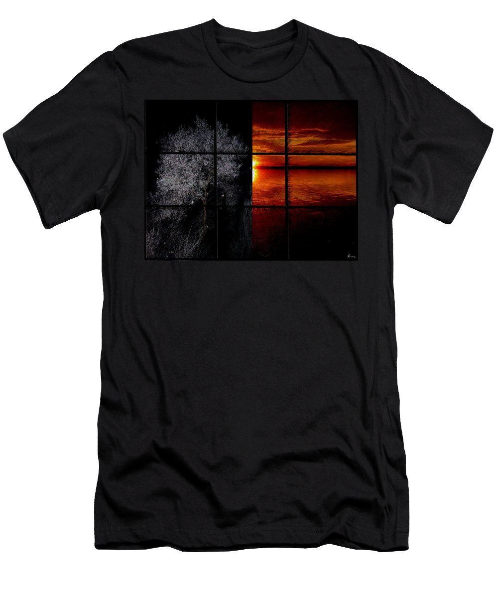Trees Frost Cold Warm Sunshine Water Lake Shimmer Men's T-Shirt (Athletic Fit) featuring the photograph Which Side You On by Andrea Lawrence