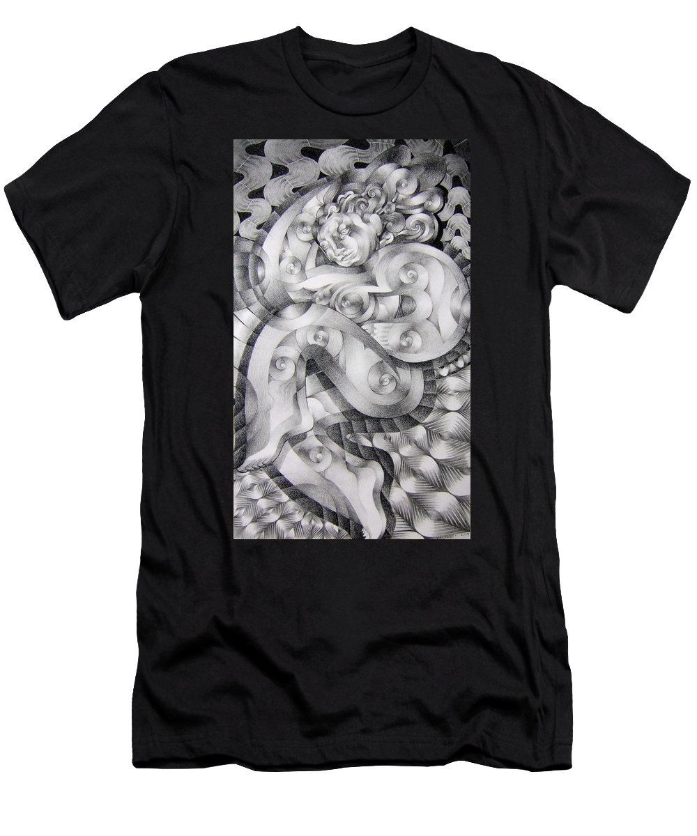Art Men's T-Shirt (Athletic Fit) featuring the drawing Whim by Myron Belfast