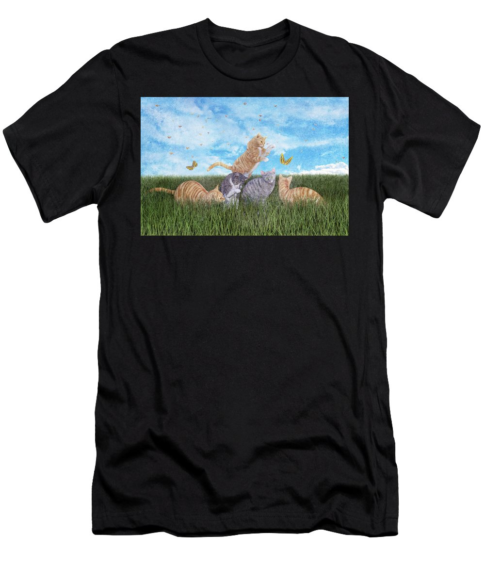 Fantasy Men's T-Shirt (Athletic Fit) featuring the digital art Whimsical Cats by Betsy Knapp