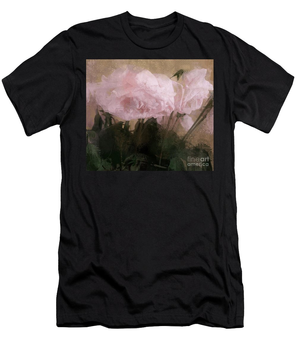 Pink Peonies Men's T-Shirt (Athletic Fit) featuring the digital art Whisper Of Pink Peonies by Alexis Rotella