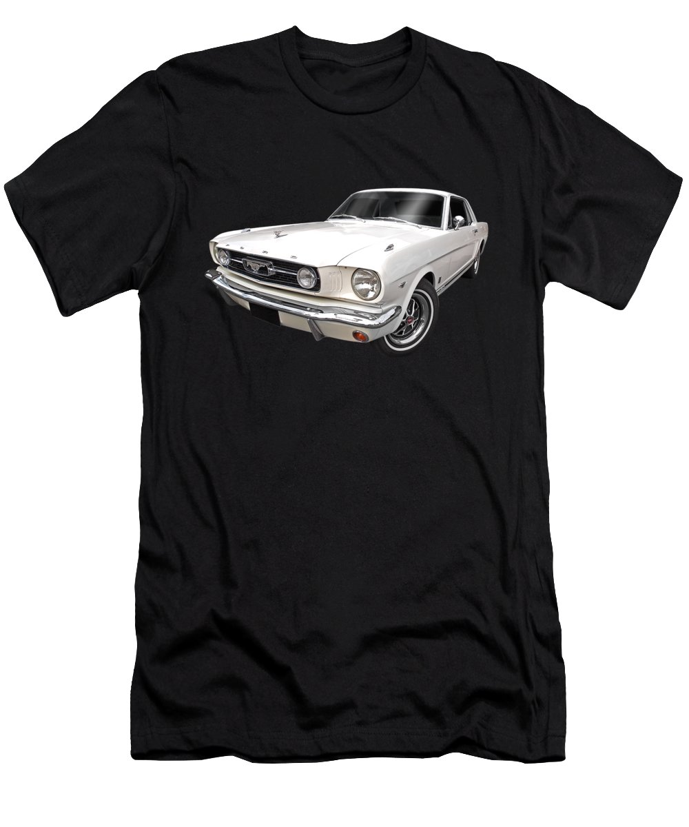 Ford Mustang Men's T-Shirt (Athletic Fit) featuring the photograph White 1966 Mustang by Gill Billington
