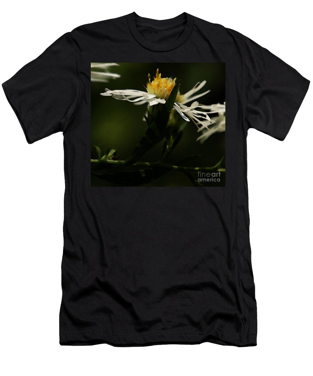 Aster Men's T-Shirt (Athletic Fit) featuring the photograph White Aster by Linda Shafer