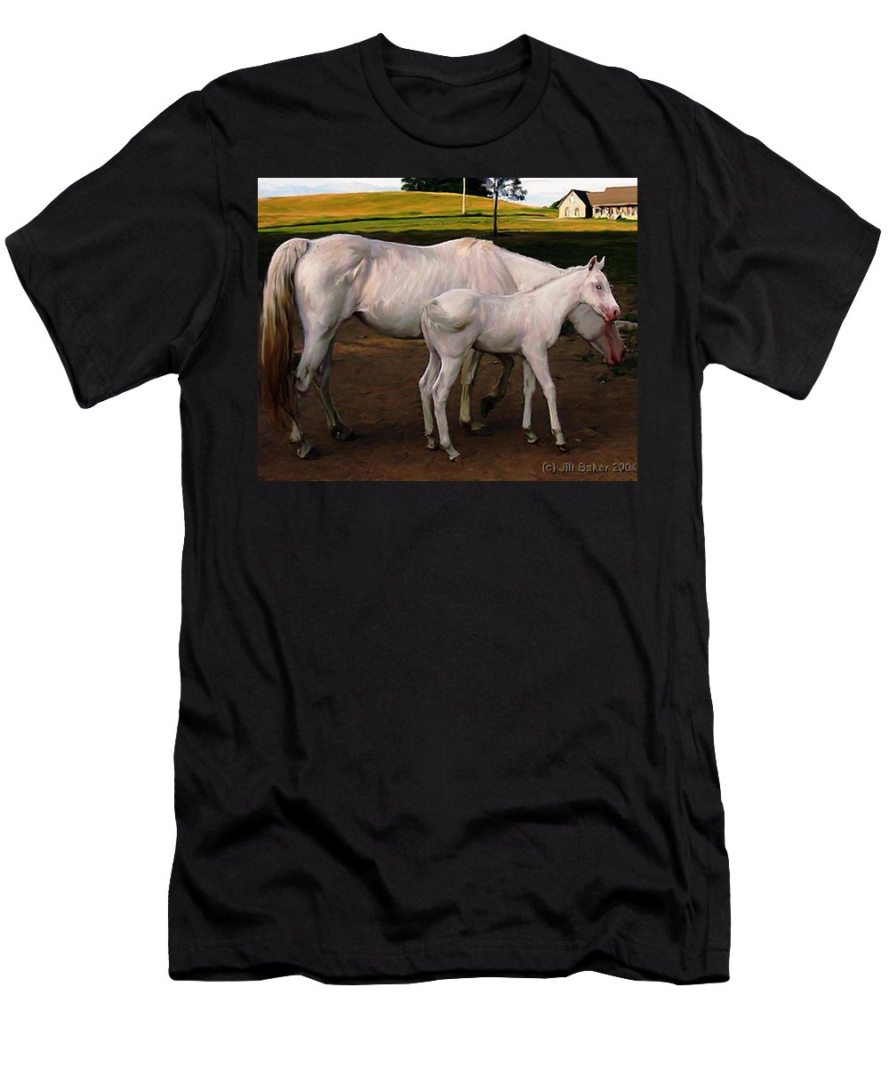 White Horses Men's T-Shirt (Athletic Fit) featuring the painting White Baby Horse by Jill Baker