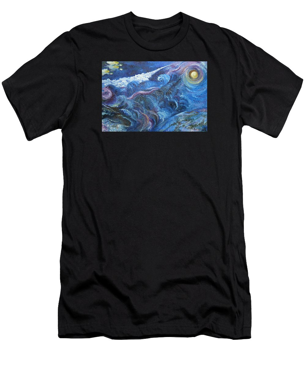 Baby Lambs Men's T-Shirt (Athletic Fit) featuring the painting White Baby Lambs Of Peaceful Nights by Karina Ishkhanova