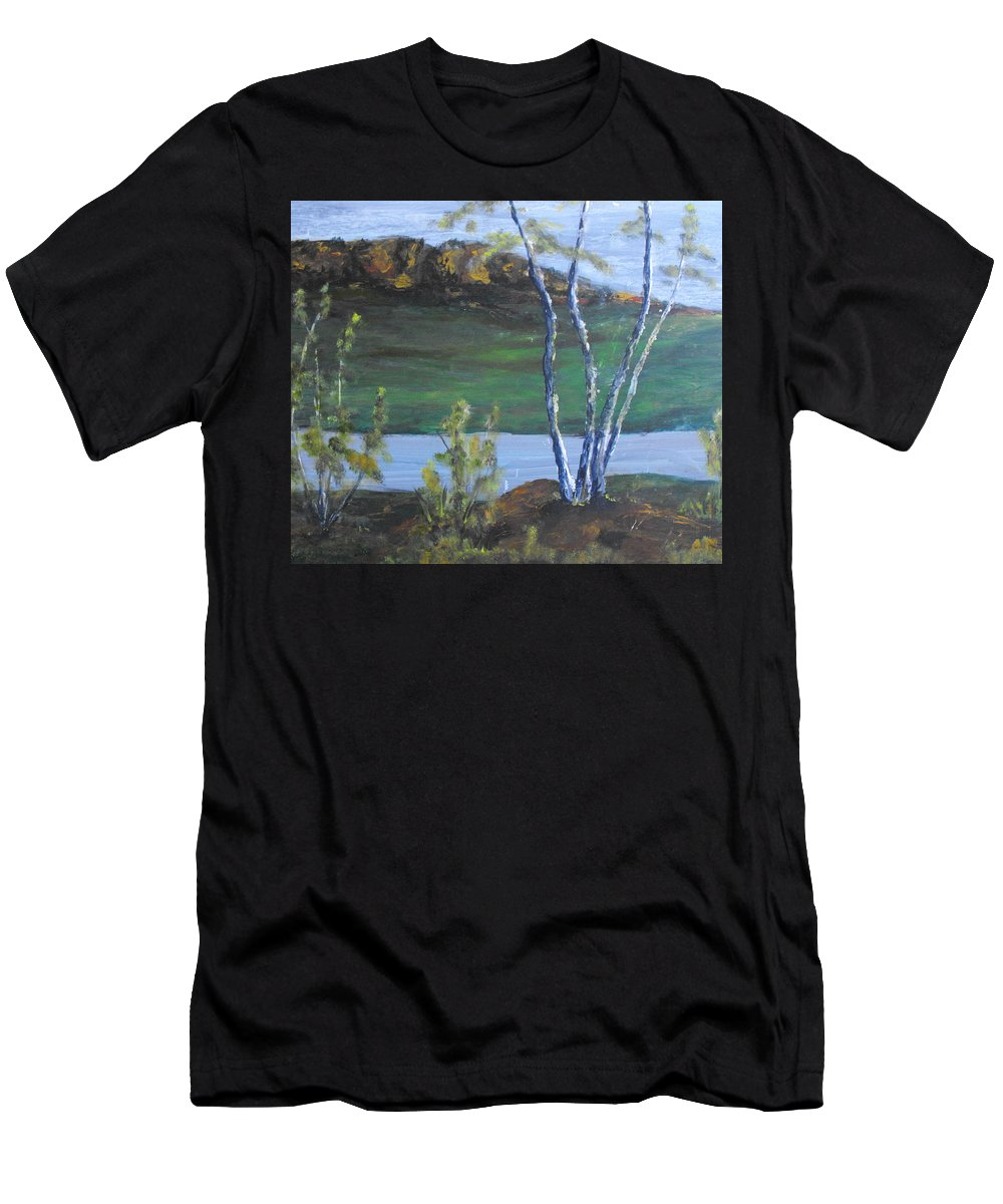 White Birch Men's T-Shirt (Athletic Fit) featuring the painting White Birch In The Landscape by Michael and Mary ODonnell