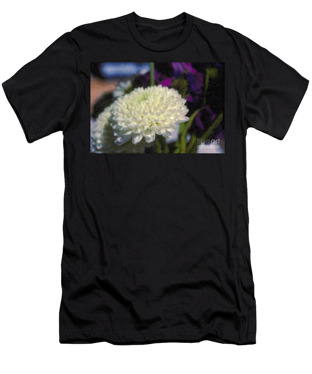 White Chrysanthemum Flower Beautiful Mum Men's T-Shirt (Athletic Fit) featuring the photograph White Chrysanthemum Flower by David Zanzinger
