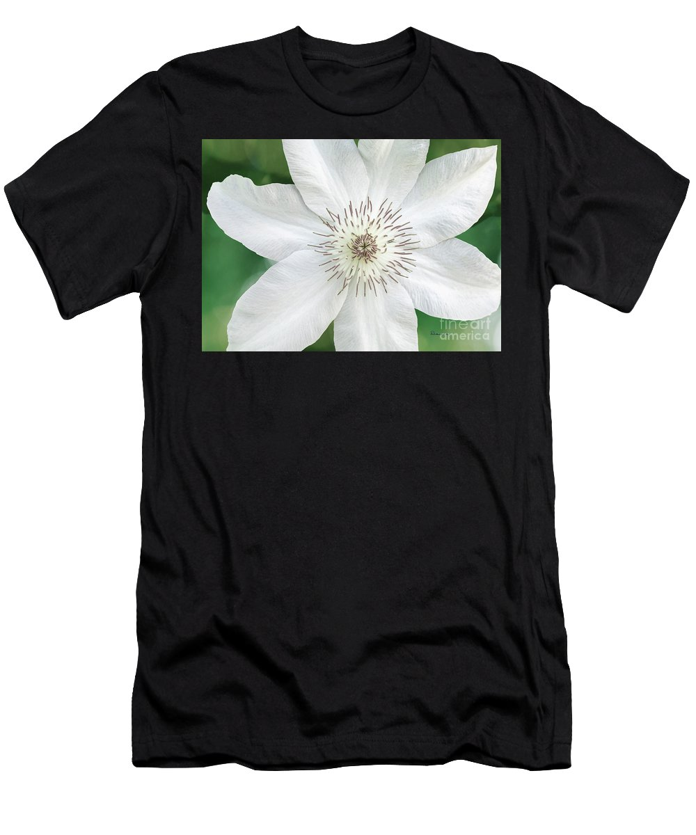 50121 Men's T-Shirt (Athletic Fit) featuring the photograph White Clematis Flower Garden 50121 by Ricardos Creations