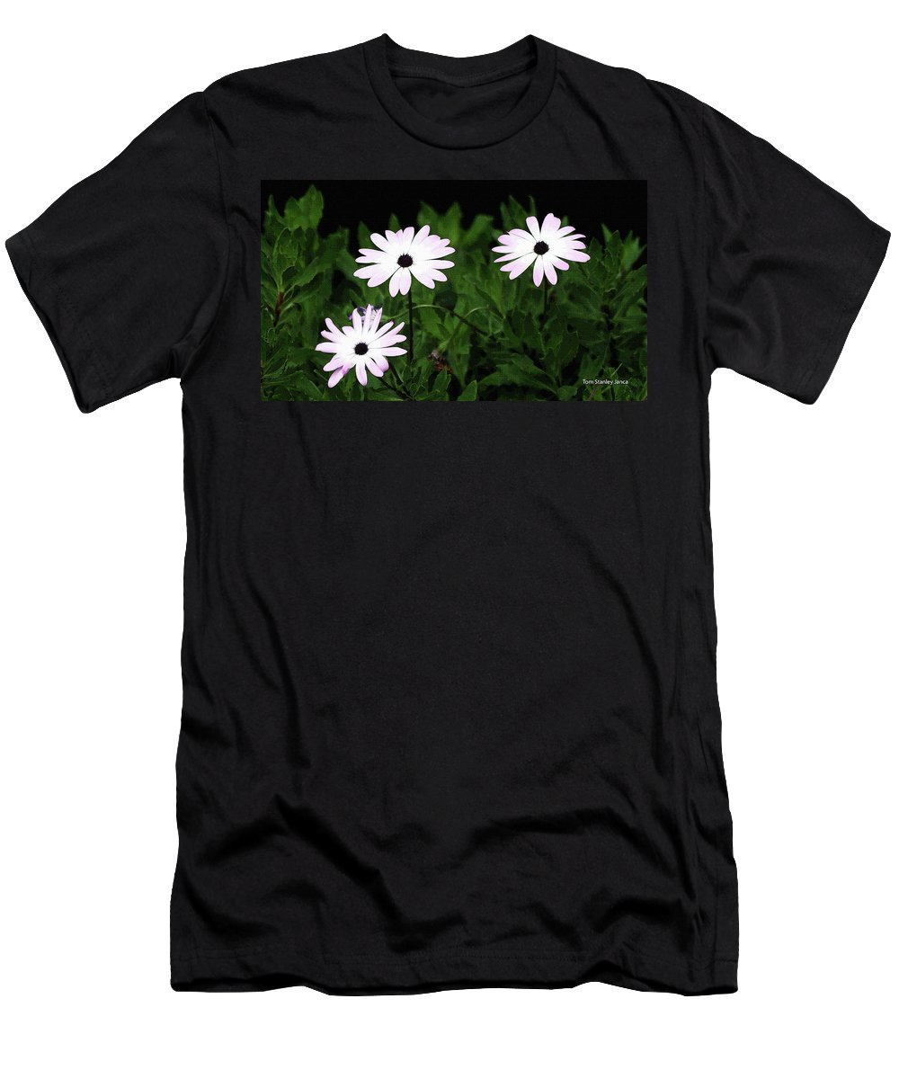 White Flowers In The Garden Men's T-Shirt (Athletic Fit) featuring the photograph White Flowers In The Garden by Tom Janca