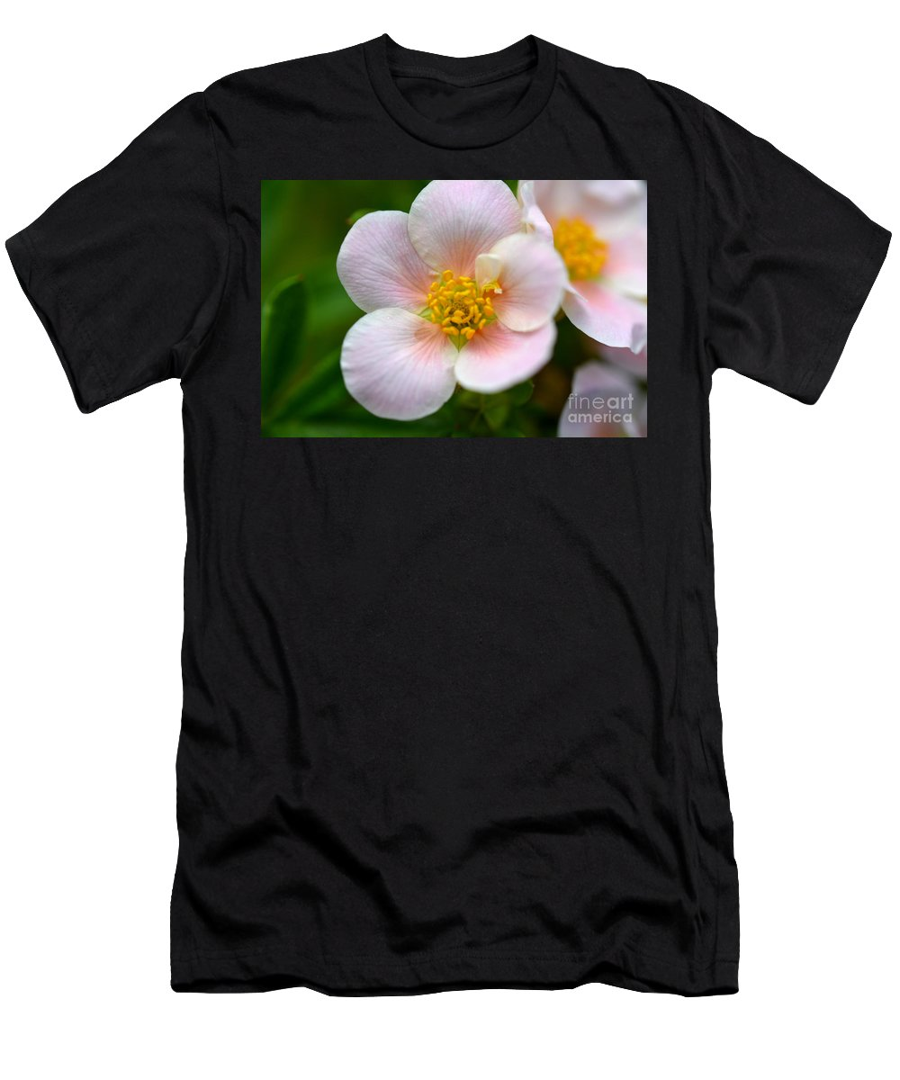 Flowers Men's T-Shirt (Athletic Fit) featuring the photograph White Flowers With Pink And Yellow by Reva Steenbergen