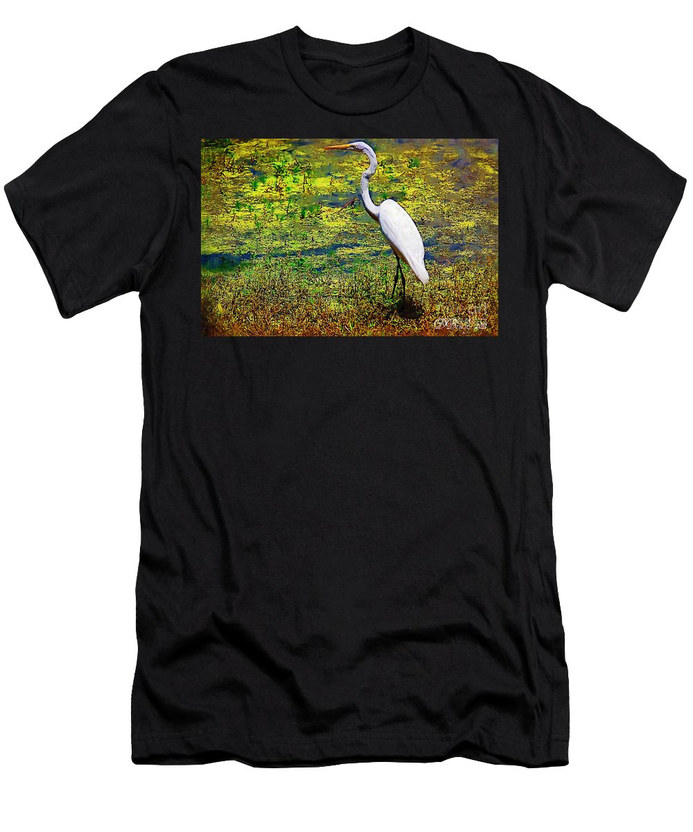White Heron Men's T-Shirt (Athletic Fit) featuring the photograph White Heron 1 by Donna Bentley