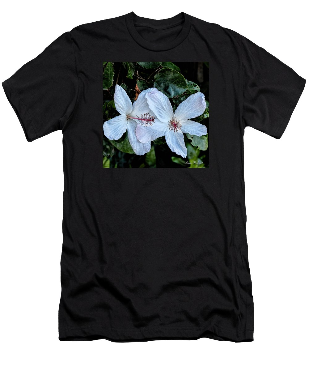 2015 Men's T-Shirt (Athletic Fit) featuring the photograph White Hibicus by Leon Roland