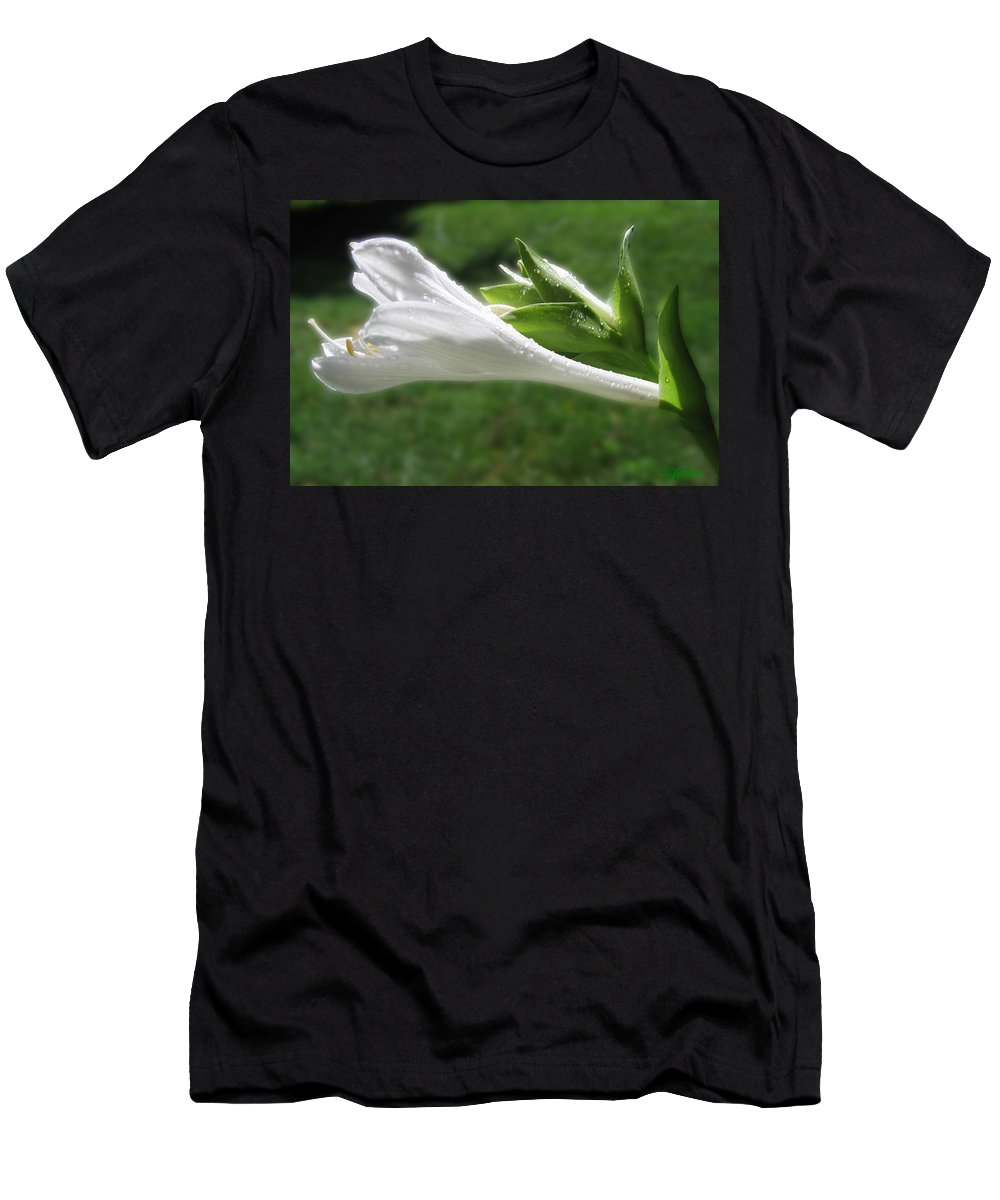 White Hosta Flower Men's T-Shirt (Athletic Fit) featuring the photograph White Hosta Flower 46 by Maciek Froncisz