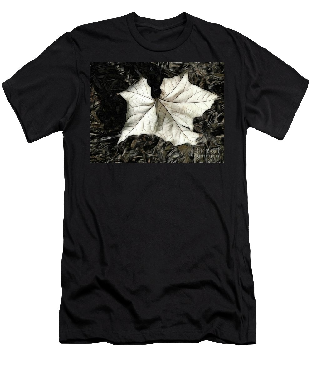White Leaf On The Ground Men's T-Shirt (Athletic Fit) featuring the digital art White Leaf On The Ground by Mariola Bitner