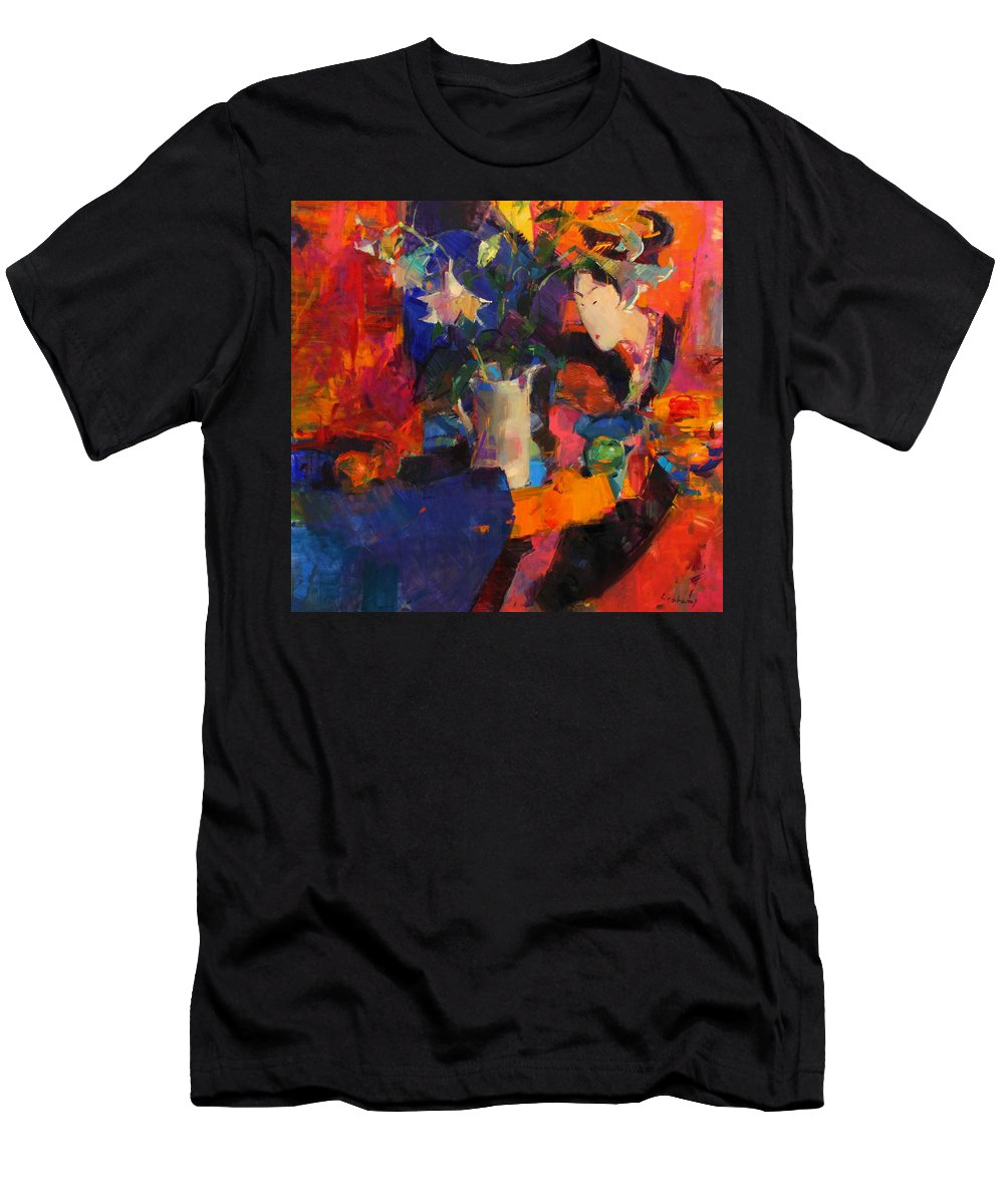 Geisha Men's T-Shirt (Athletic Fit) featuring the painting White Lilies by Peter Graham