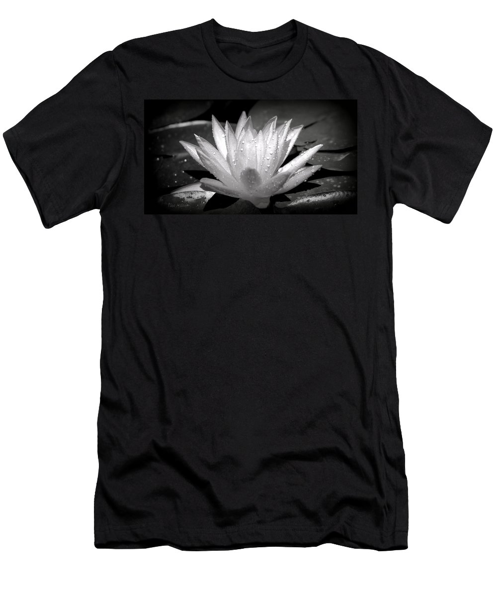 Black Men's T-Shirt (Athletic Fit) featuring the photograph White Lily by Tina Meador