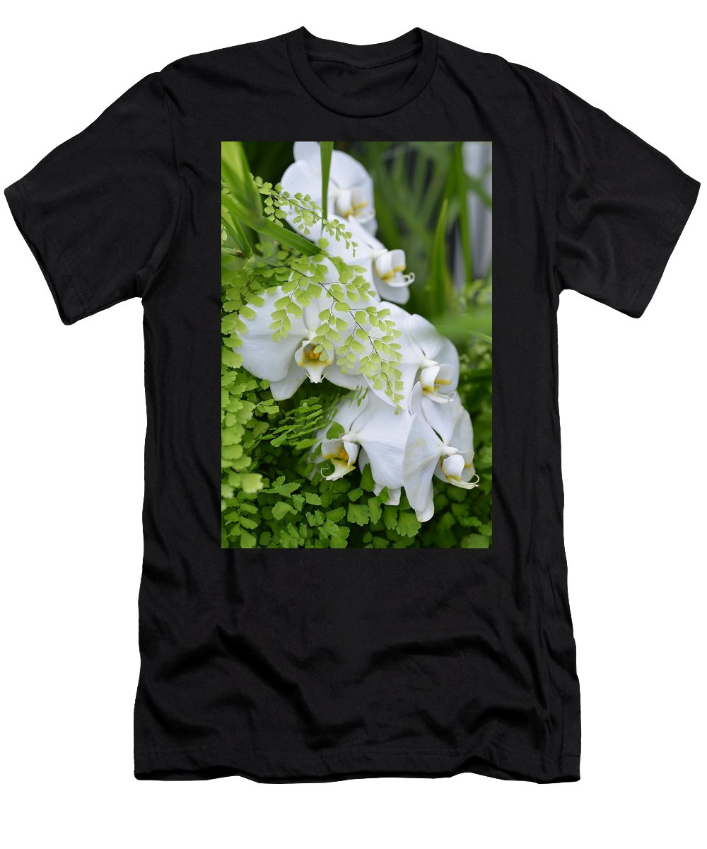Ferns Men's T-Shirt (Athletic Fit) featuring the photograph White Orchids by Ronda Broatch