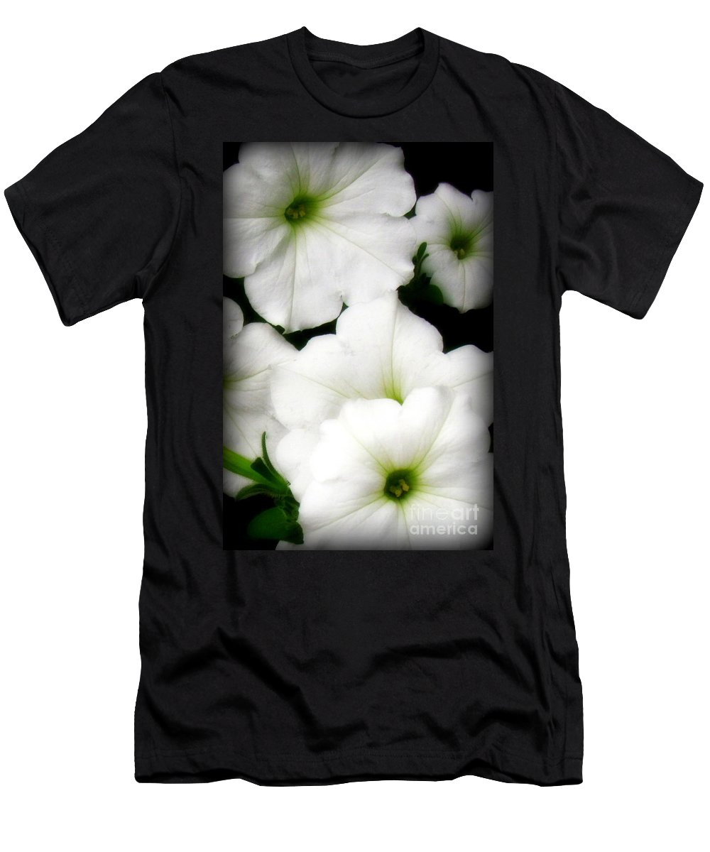 White Petunias Photographed In Montrose Men's T-Shirt (Athletic Fit) featuring the photograph White Petunias 2 by Krista Carofano