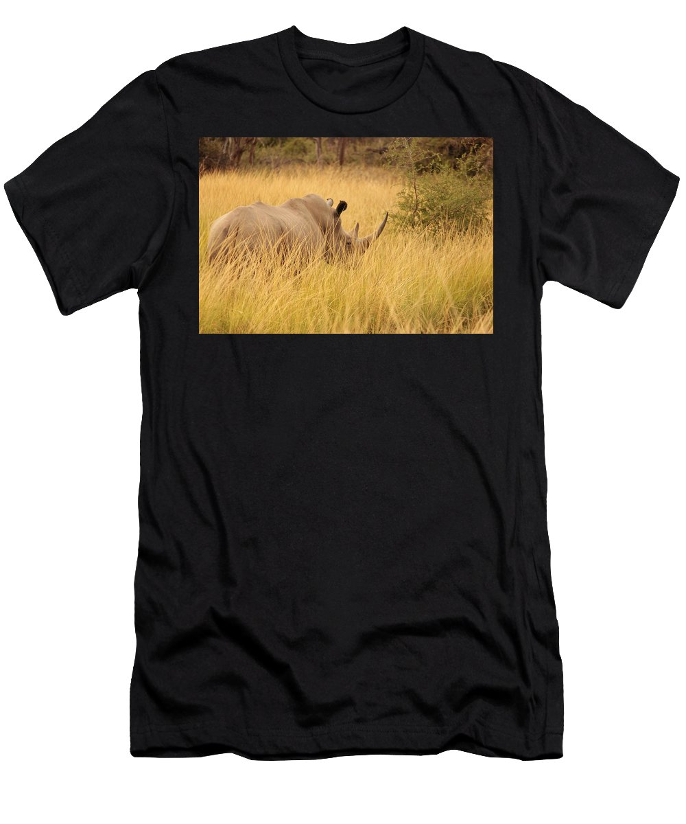 White Rhino Men's T-Shirt (Athletic Fit) featuring the photograph White Rhino by Clayton Andersen
