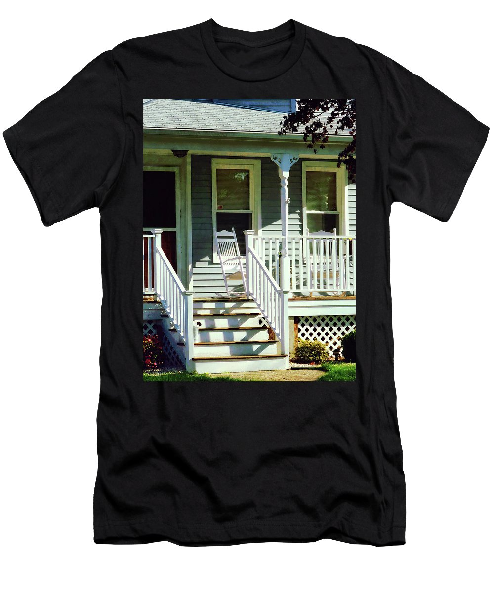 Porch Men's T-Shirt (Athletic Fit) featuring the photograph White Rocking Chairs by Susan Savad