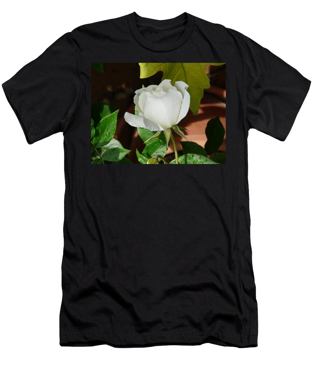 Rose Men's T-Shirt (Athletic Fit) featuring the photograph White Rose After Rain 1 by Valerie Ornstein