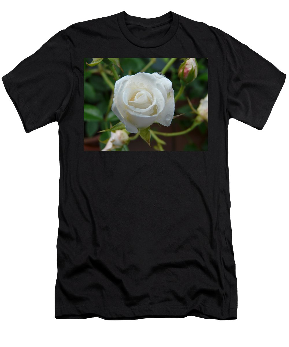 Rose Men's T-Shirt (Athletic Fit) featuring the photograph White Rose After Rain 2 by Valerie Ornstein