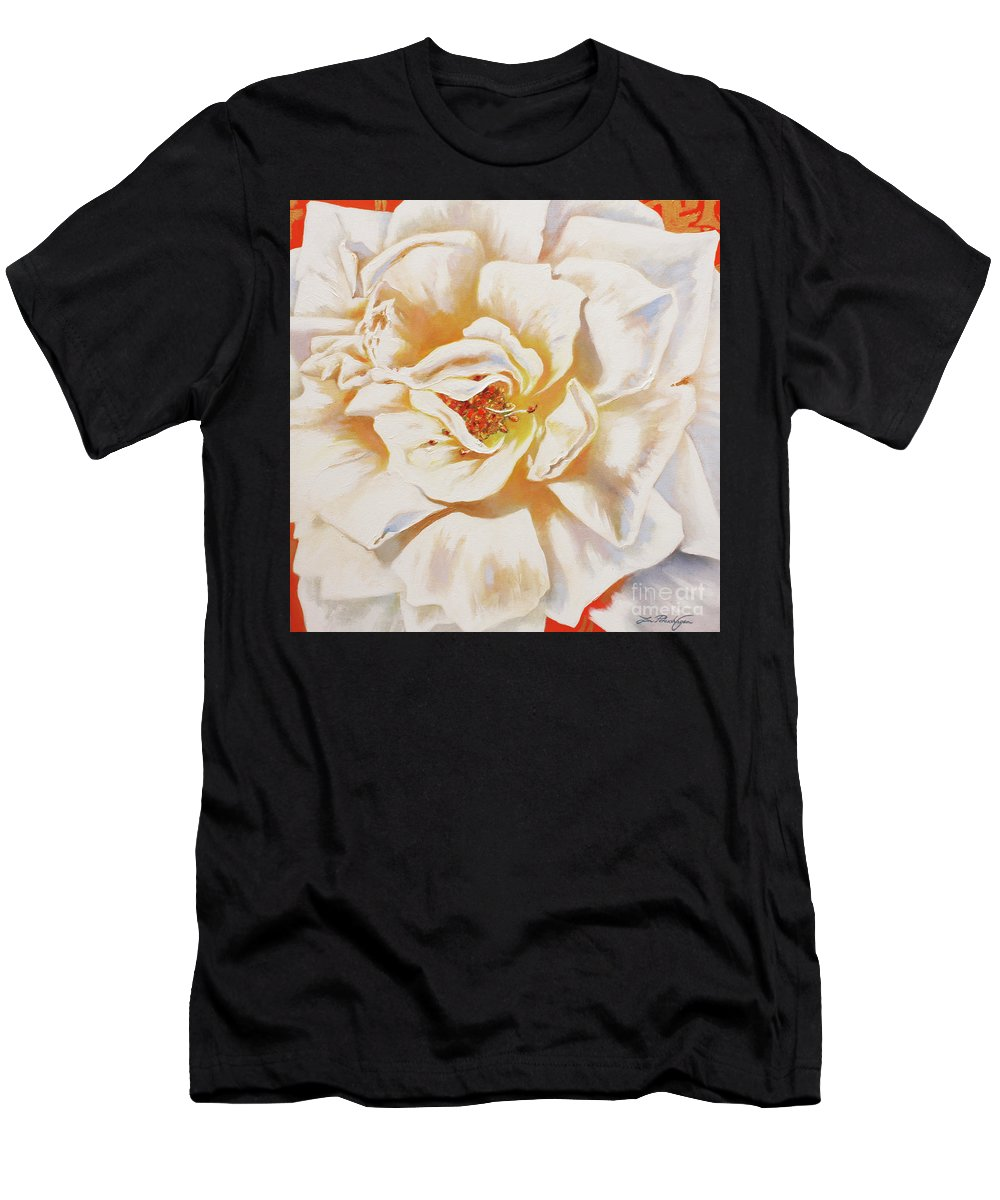 Lin Petershagen Men's T-Shirt (Athletic Fit) featuring the painting White Rose by Lin Petershagen