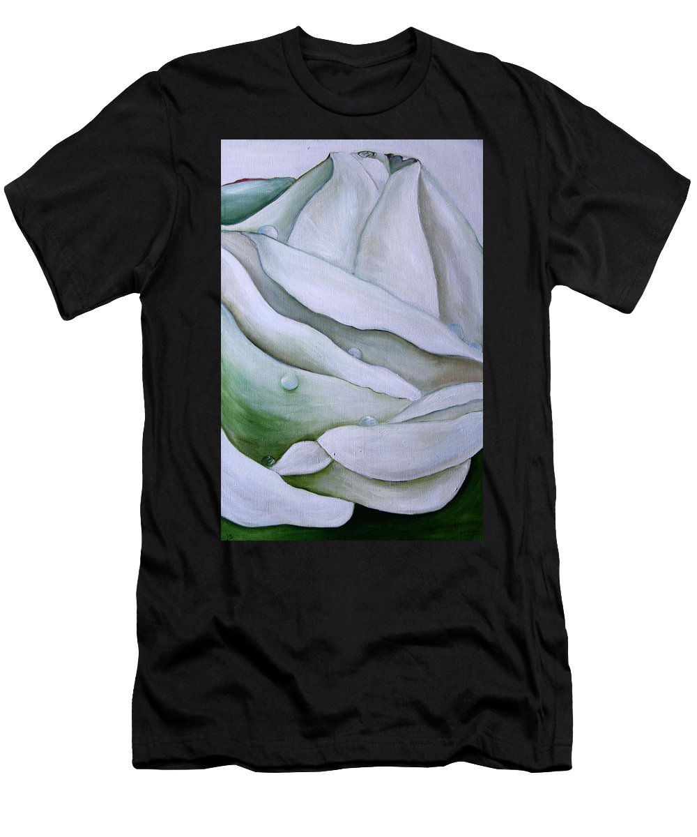 Color Men's T-Shirt (Athletic Fit) featuring the painting White Rose by Nataliia Fialko
