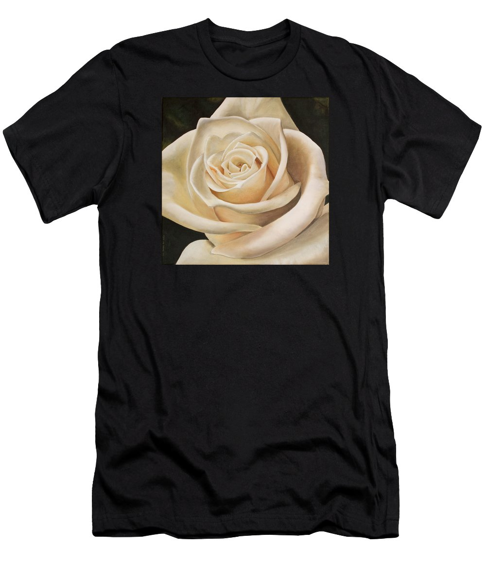 Flower Men's T-Shirt (Athletic Fit) featuring the painting White Rose by Rob De Vries