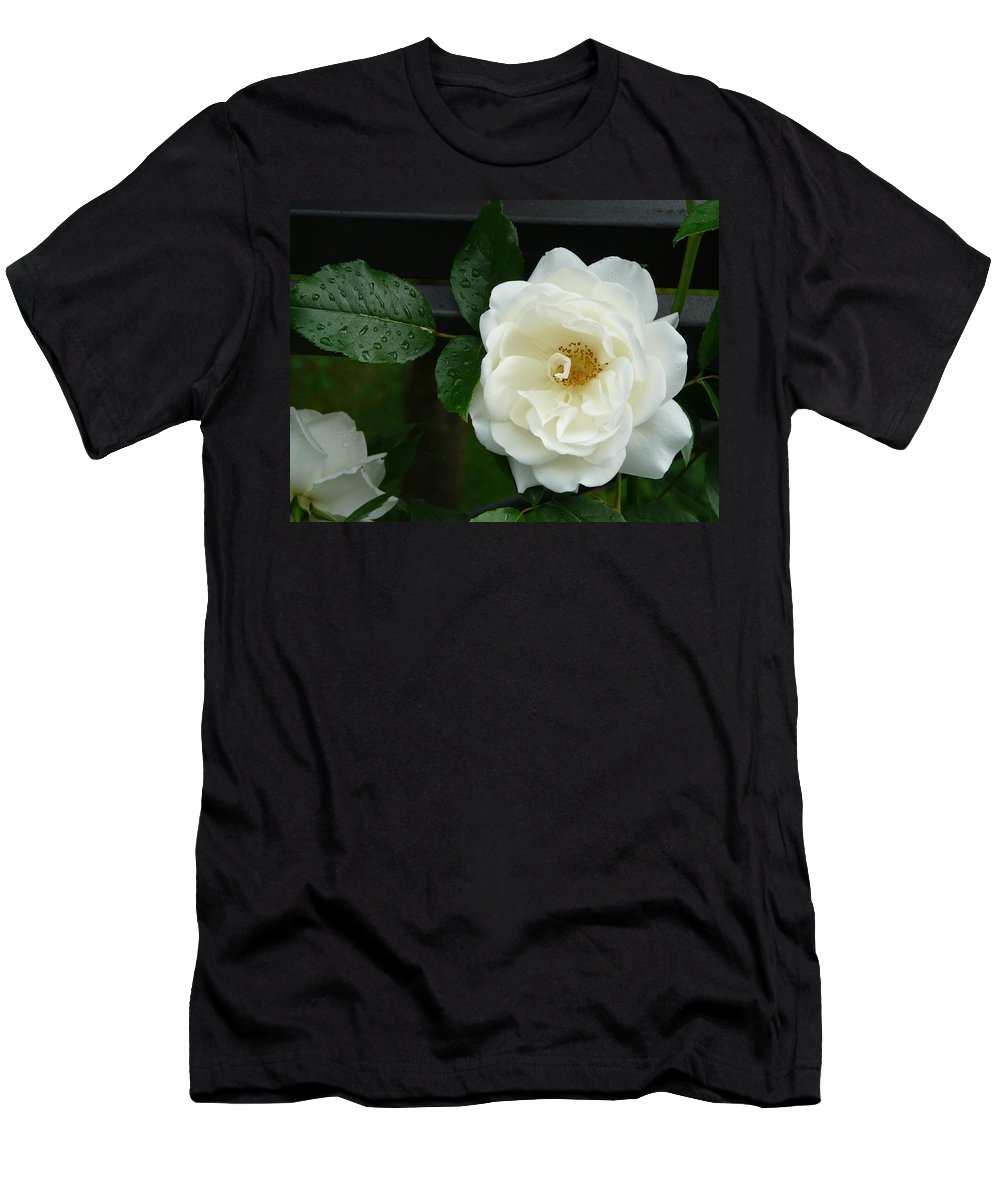 Rose Men's T-Shirt (Athletic Fit) featuring the photograph White Rose by Valerie Ornstein