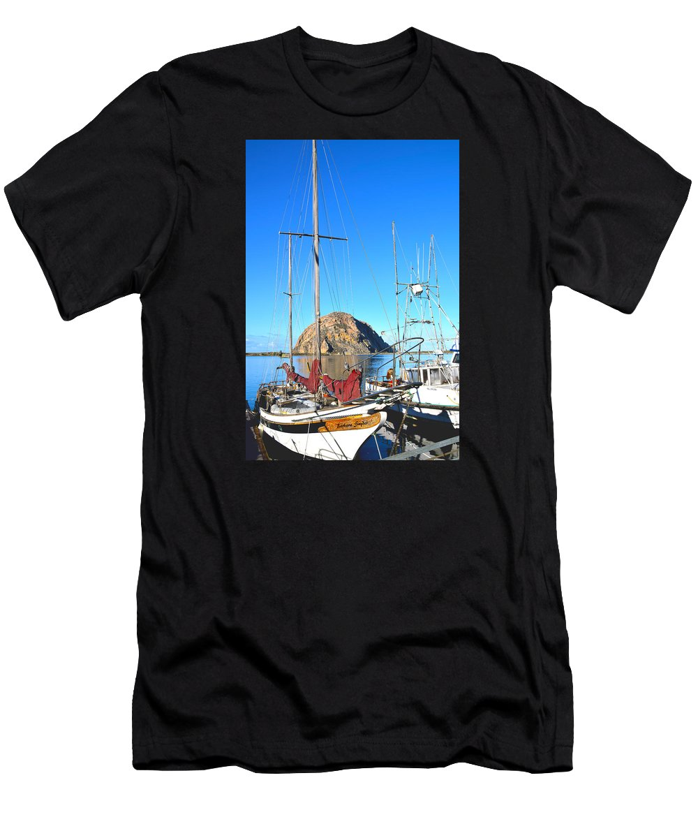White Sail Boat Morro Rock Men's T-Shirt (Athletic Fit) featuring the painting White Sail Boat Morro Rock by Barbara Snyder