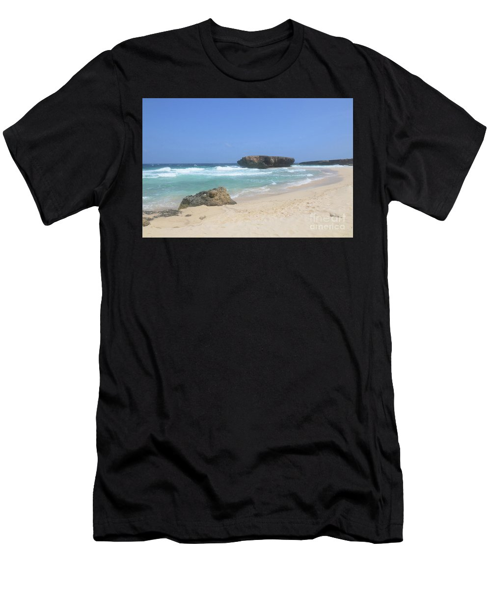 Boca Keto Men's T-Shirt (Athletic Fit) featuring the photograph White Sand Beaches, Waves And A Rock Formation In Aruba by DejaVu Designs