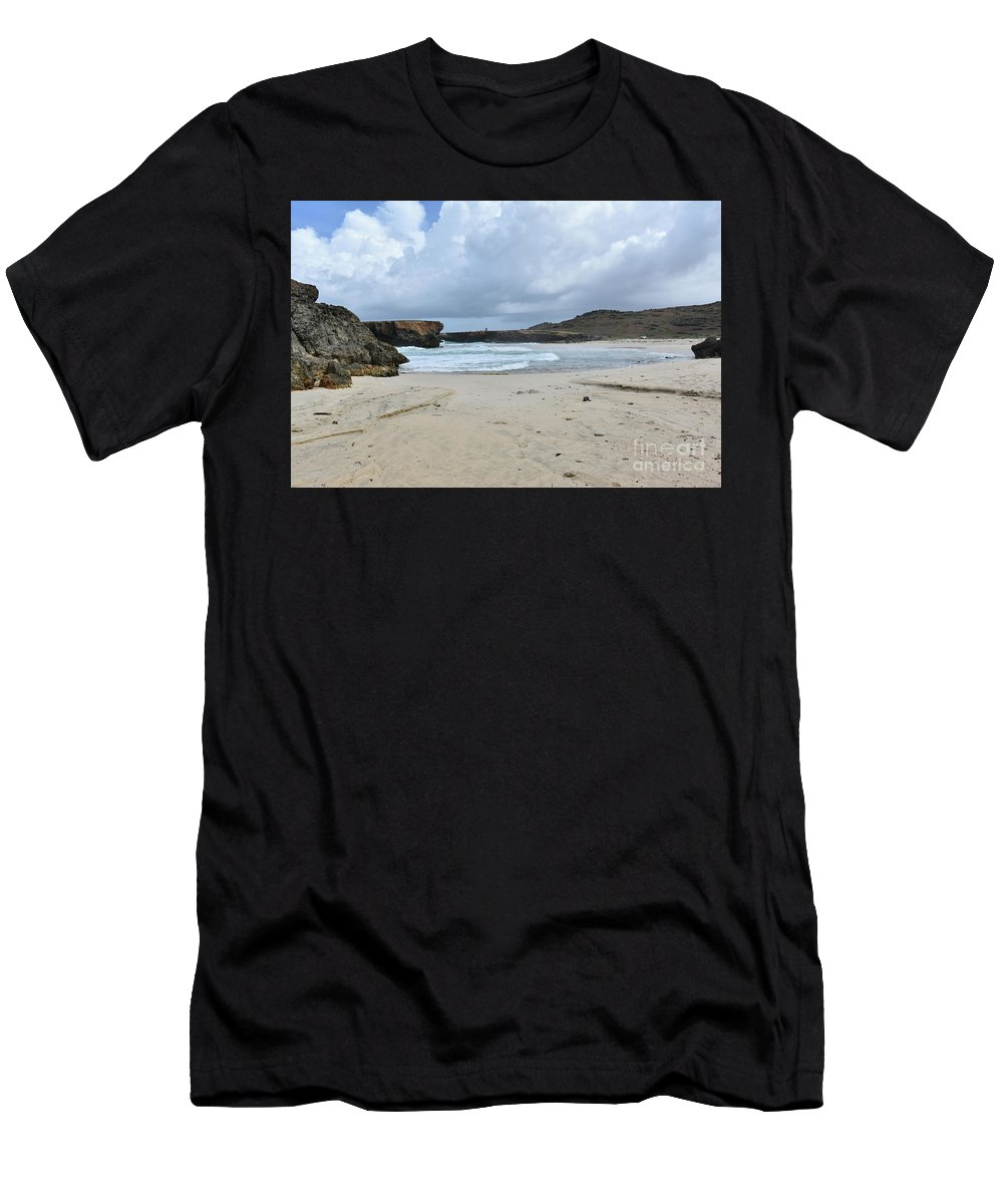 Boca Keto Men's T-Shirt (Athletic Fit) featuring the photograph White Sandy Deserted Beach On The East Coast Of Aruba by DejaVu Designs