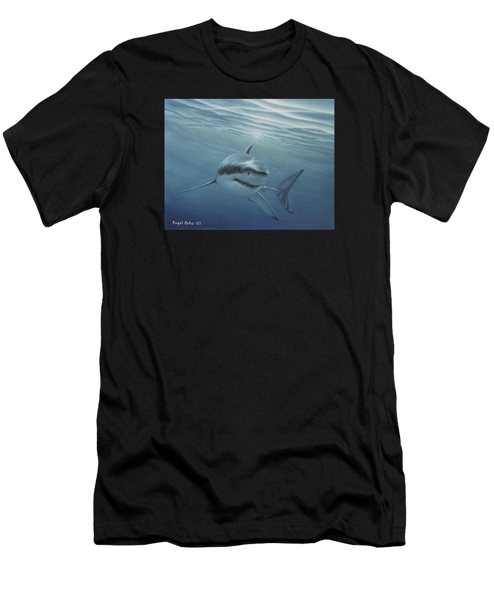 Shark Men's T-Shirt (Athletic Fit) featuring the painting White Shark by Angel Ortiz