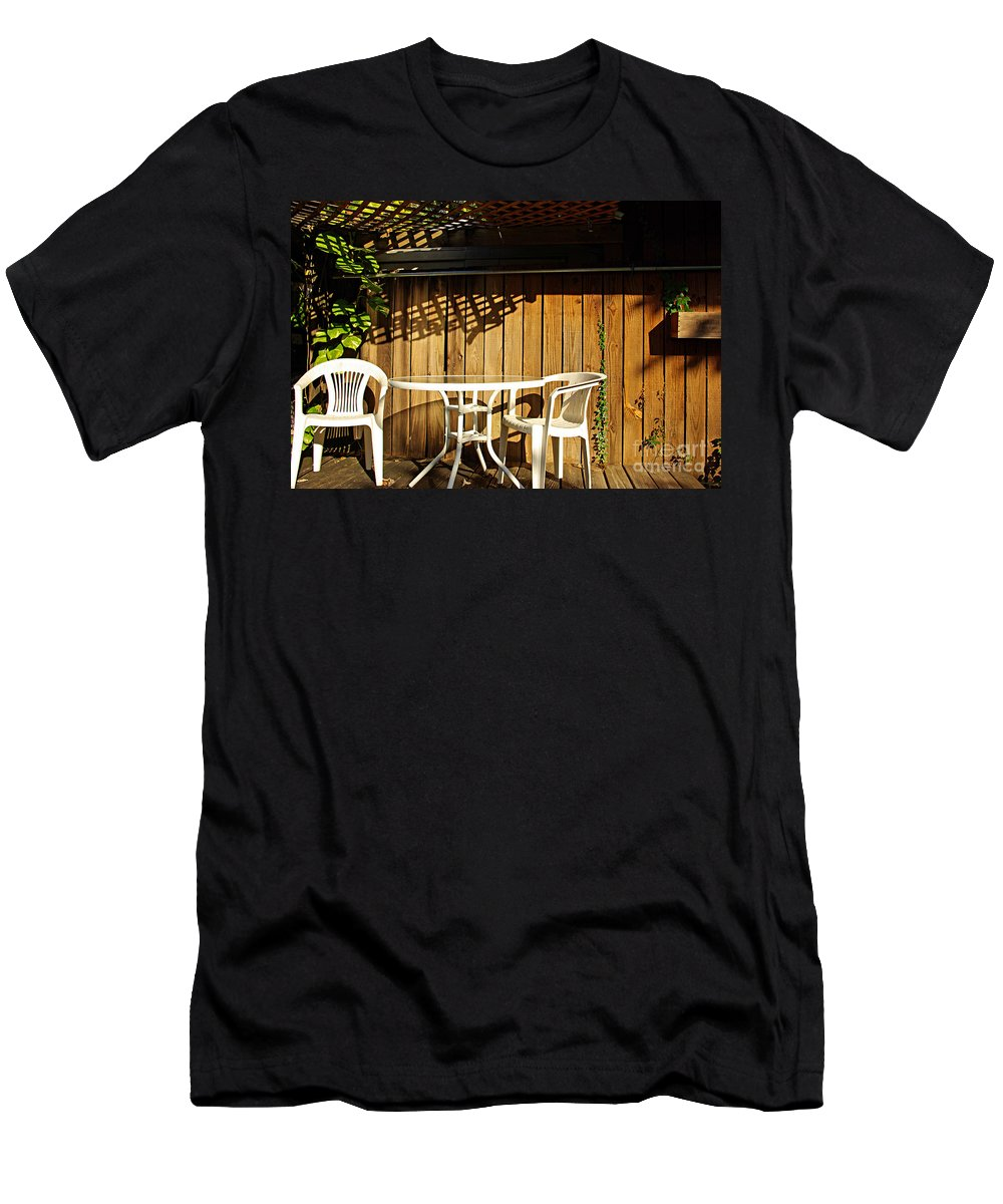 White Men's T-Shirt (Athletic Fit) featuring the photograph White Table With Chairs by Zal Latzkovich