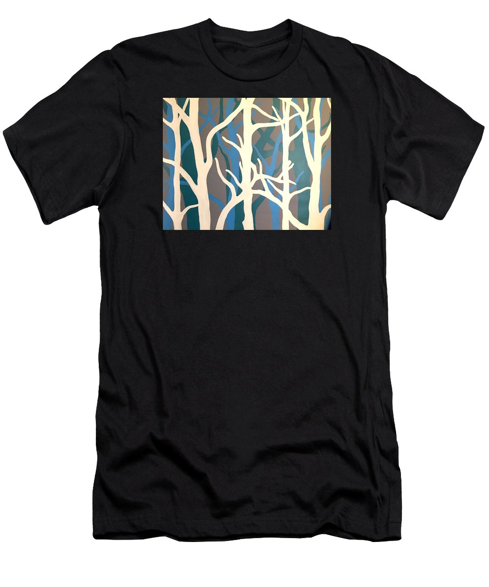 Painting Men's T-Shirt (Athletic Fit) featuring the painting White Trees by Altin Rizi