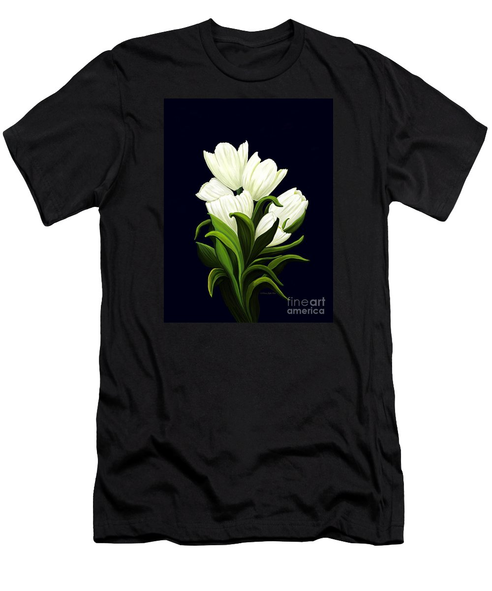 Mixed Media Men's T-Shirt (Athletic Fit) featuring the painting White Tulips by Patricia Griffin Brett