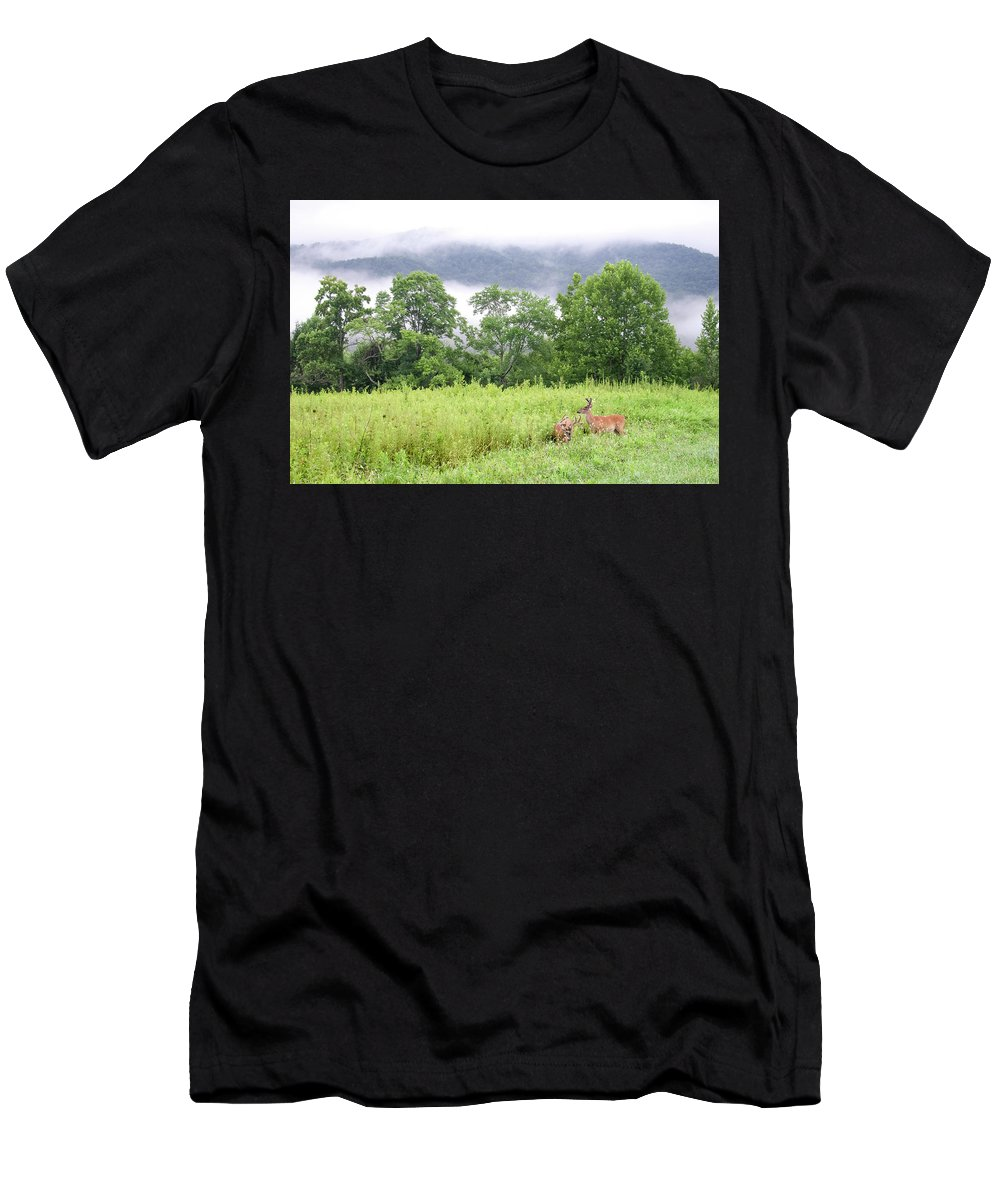 Deer Men's T-Shirt (Athletic Fit) featuring the photograph Whitetail Deer 1 by Tina Cannon