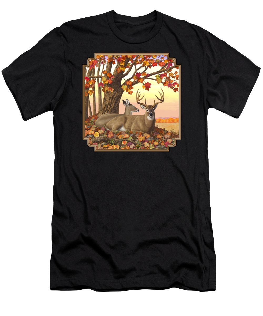 Deer Men's T-Shirt (Athletic Fit) featuring the digital art Whitetail Deer - Hilltop Retreat by Crista Forest