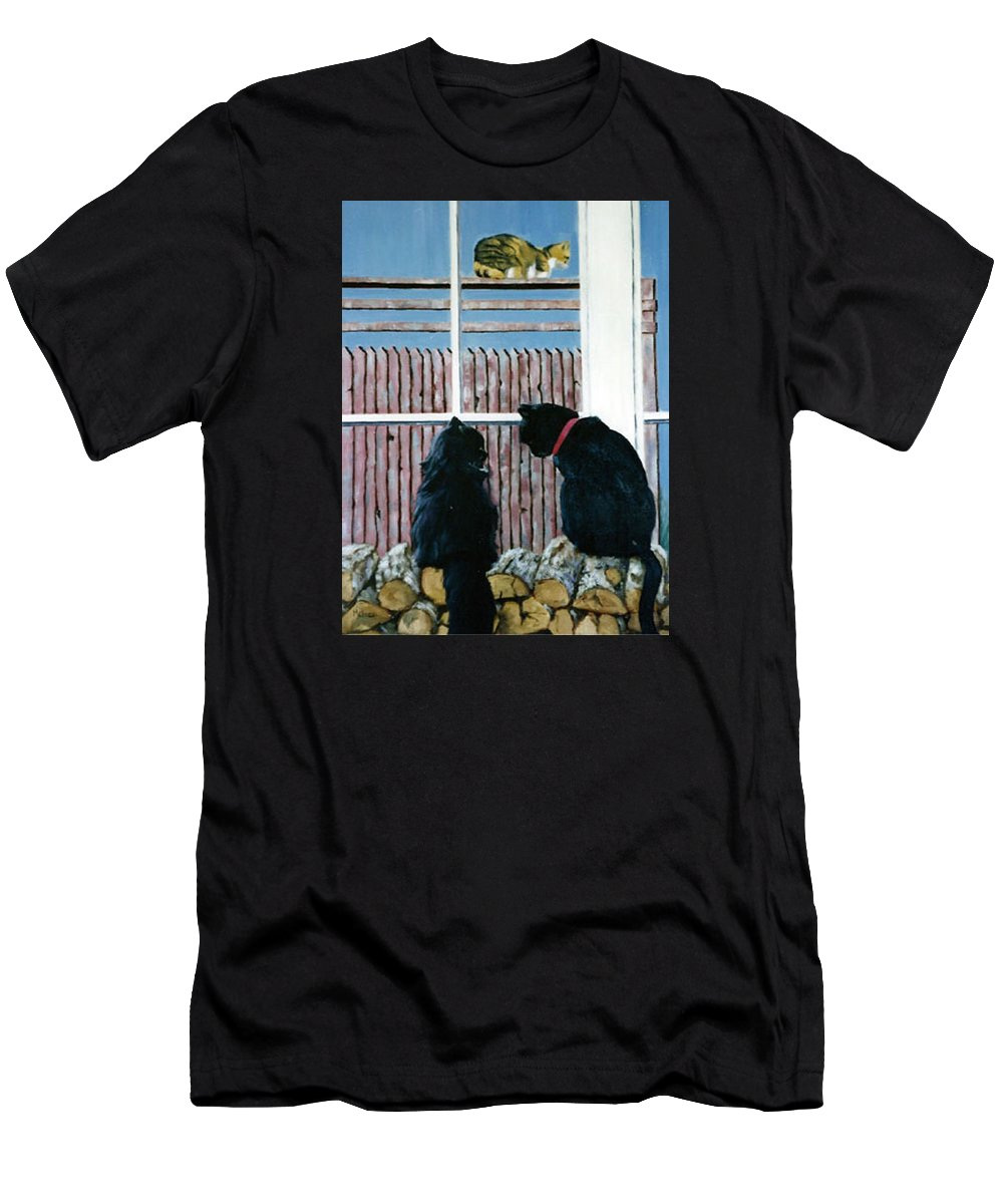 Cat Portrait Men's T-Shirt (Athletic Fit) featuring the painting Who's That by Fran Rittenhouse-McLean