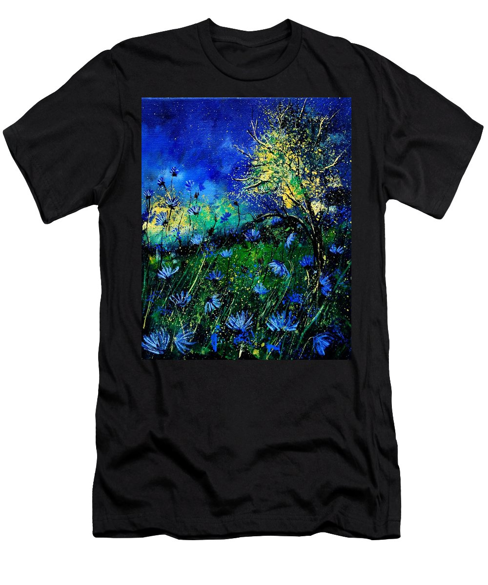 Poppies Men's T-Shirt (Athletic Fit) featuring the painting Wild Chocoree by Pol Ledent