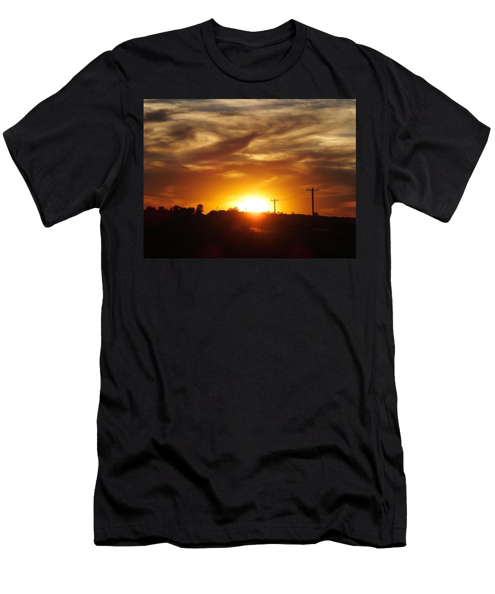 Sunset Men's T-Shirt (Athletic Fit) featuring the photograph Wild Clouds by Bernadette Bisbee